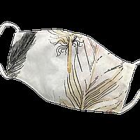 """Детская защитная маска для лица Солодкий Сон, хлопковая, двухслойная """"Перья"""" Бежевый S, фото 1"""