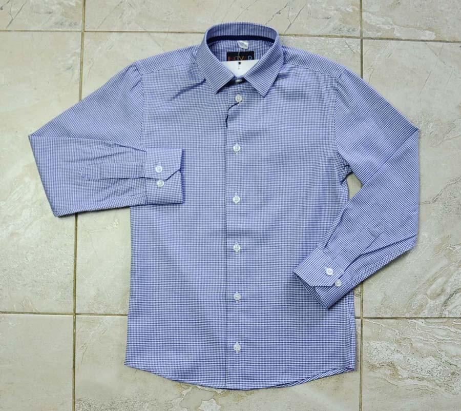 Рубашка школьная синего цвета с узором в клетку для мальчика, INGVAR