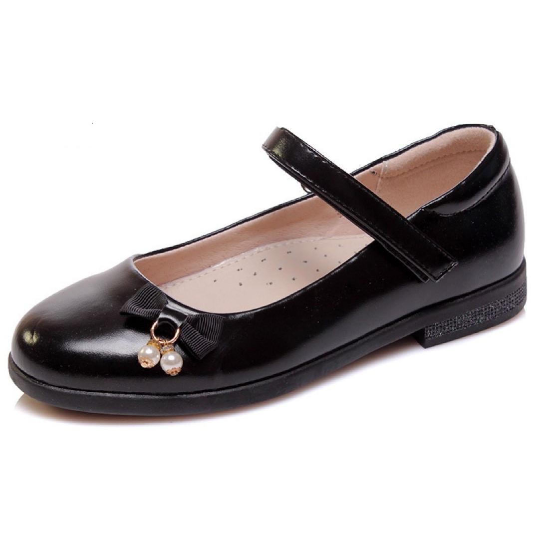 Туфли черного цвета на липучке с декором бусинами для девочки, WeeStep