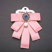 Брошь-галстук из розовых лент под воротничок L- 12см