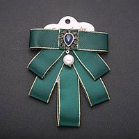 Брошь-галстук из зеленых лент под воротничок L- 12см