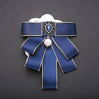 Брошь-галстук из синих лент под воротничок L- 12см