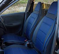 Чохли автомобільні Pilot для ЗАЗ Lanos синя тканина / кожзам (горби -задні сидіння) Пілот для Деу Ланос
