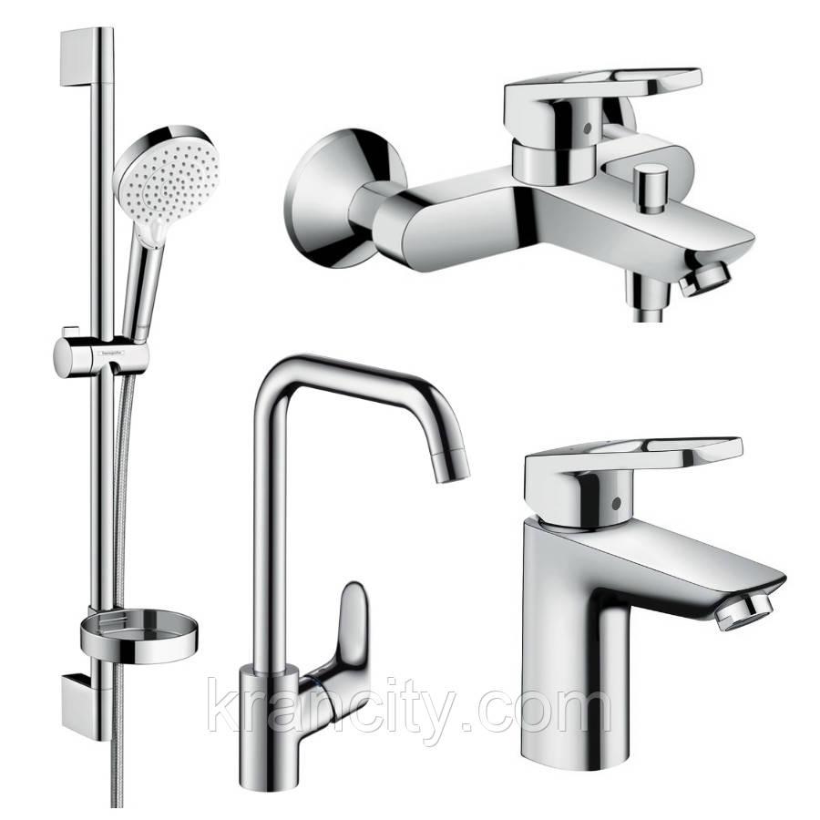 Набор смесителей для ванны+смеситель для кухни однорычажный HANSGROHE LOGIS LOOP