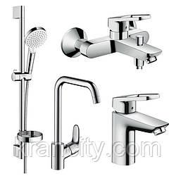 Набір змішувачів для ванни+змішувач для кухні одноважільний HANSGROHE LOGIS LOOP