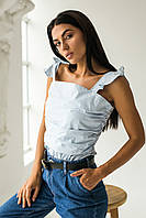 Элегантная летняя блузка QJBM - голубой цвет, L (есть размеры), фото 1