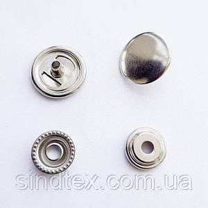 Кнопка АЛЬФА двухсторонняя - 15мм  Никель (720шт.) (ИР-0064)