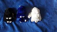 Меховой брелок кролик, зайка, зайчик из меха кролика, в наверное черный,белый,синий