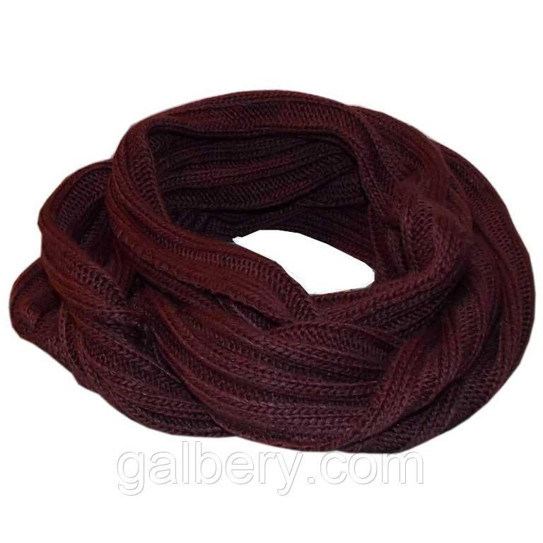 Вязаный шарф-снуд глубокого коньячного цвета