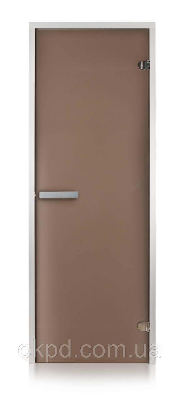 Стеклянная дверь для хамама INTERCOM алюминий 70х200, матовая бронза