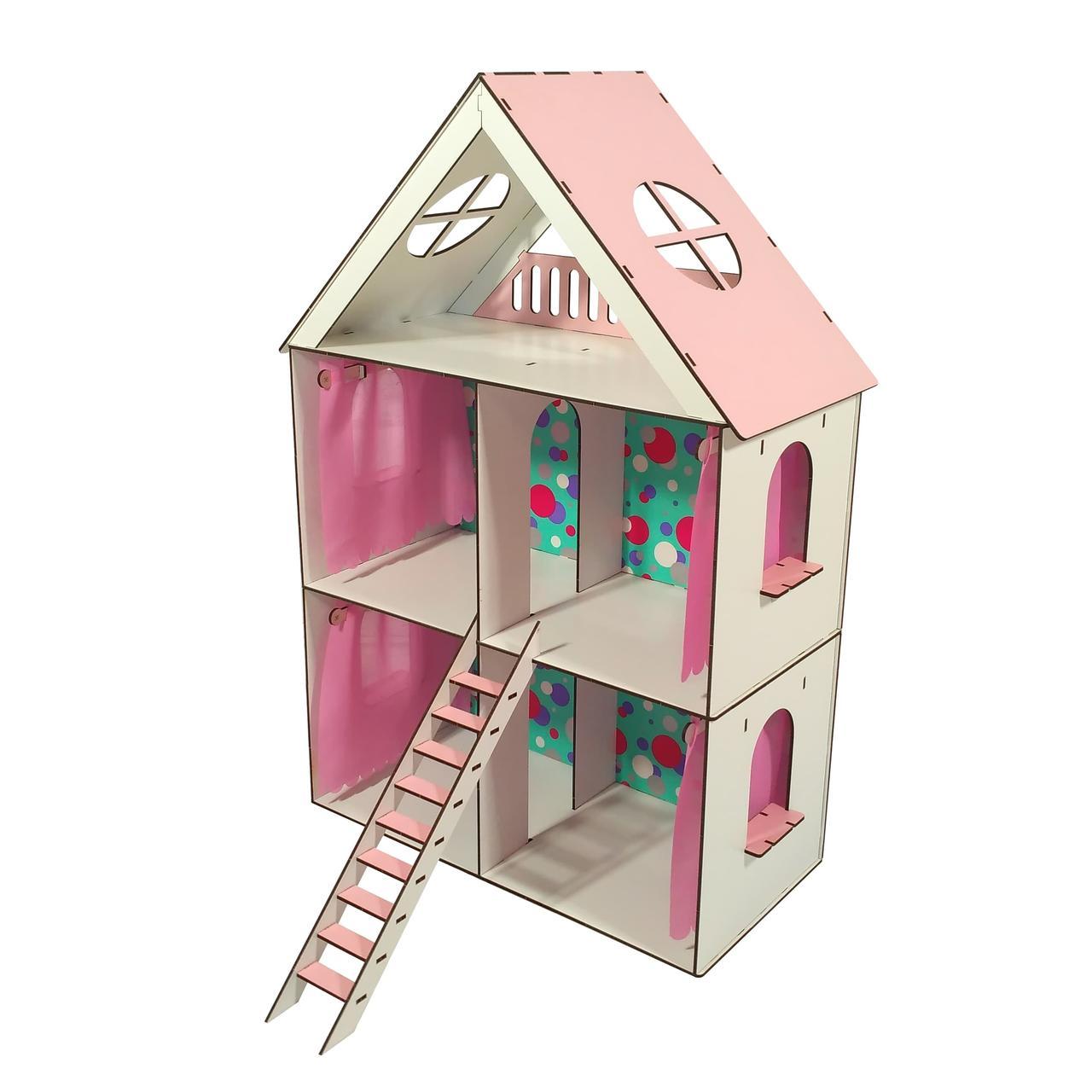 Домики для маленьких кукол Домик для LOL LITTLE FUN maxi + обои + шторки высота этажа - 20 см