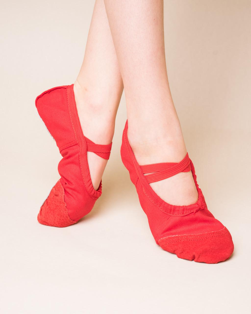 Балетки танцювальні з шкіряним носком і шкіряною підошвою Dance 011, червоний