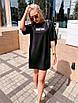 """Молодежное летнее платье футболка оверсайз с принтом """"New"""", стильная одежда на лето, фото 4"""