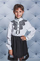 """Красивая белая блуза для девочек с длинным рукавом """"Пейсли"""""""