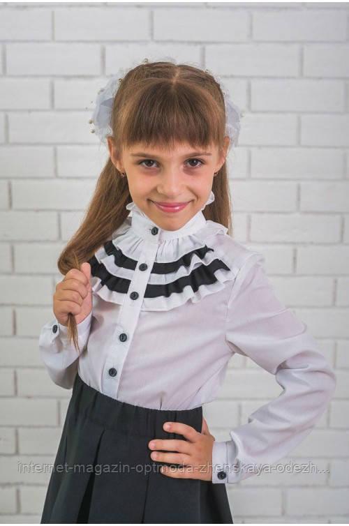 """Стильна блузка для дівчинки з чорними рюшами """"Алоїз"""""""