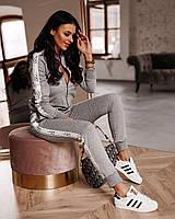 Стильный спортивный костюм женский на змейке с лампасом, размер S, M, L, XL, двухнитка, белый, черный, серый