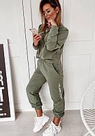 Стильный модный женский спортивный костюм, двухнитка, размер S, M, L, XL, белый, черный, лиловый, хаки