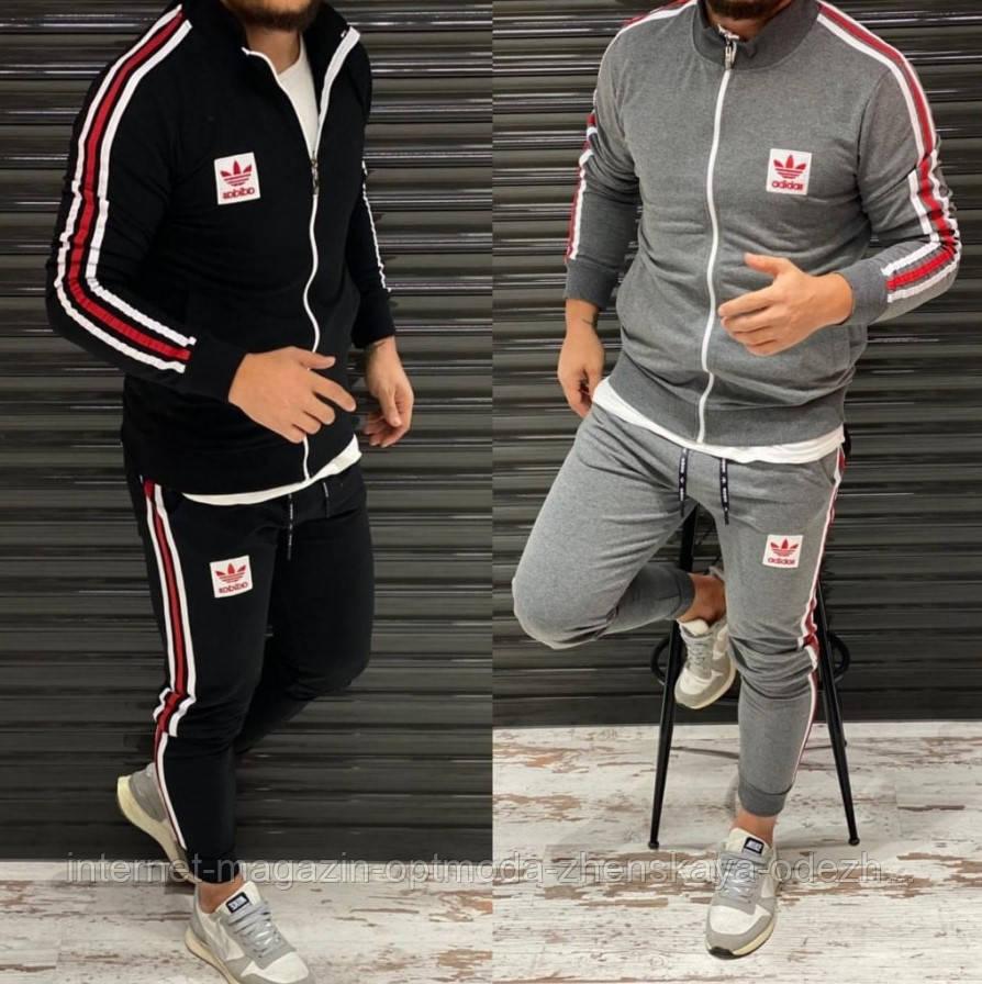"""Стильный мужской спортивный костюм """"Adidas"""" с красными лампасами"""