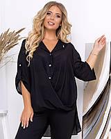 Стильная черная женская блузка из шифона PY/-1056, фото 1