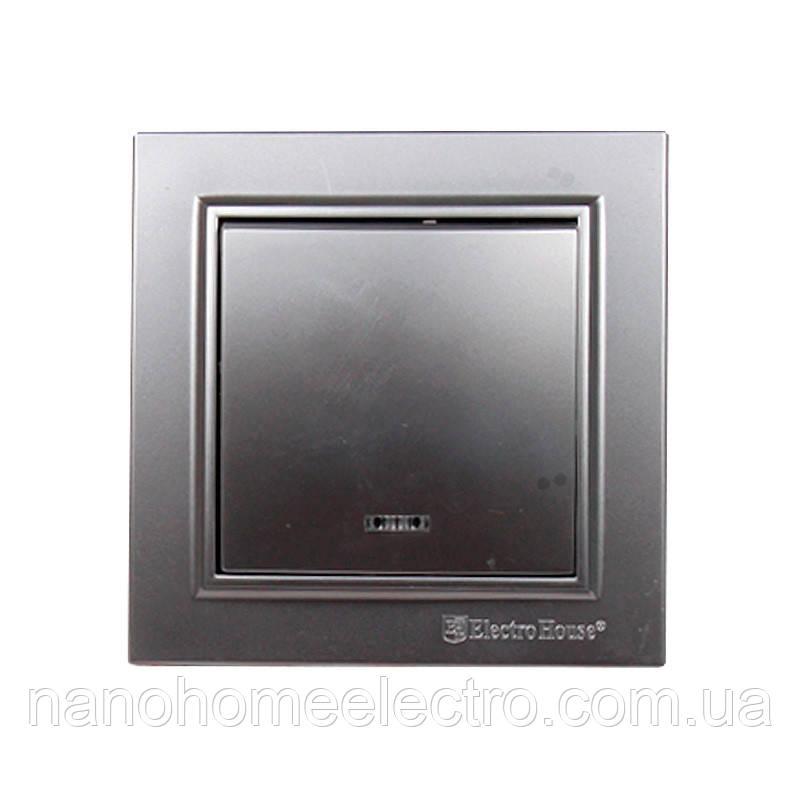 ElectroHouse Вимикач з підсвічуванням Срібний камінь Enzo IP22