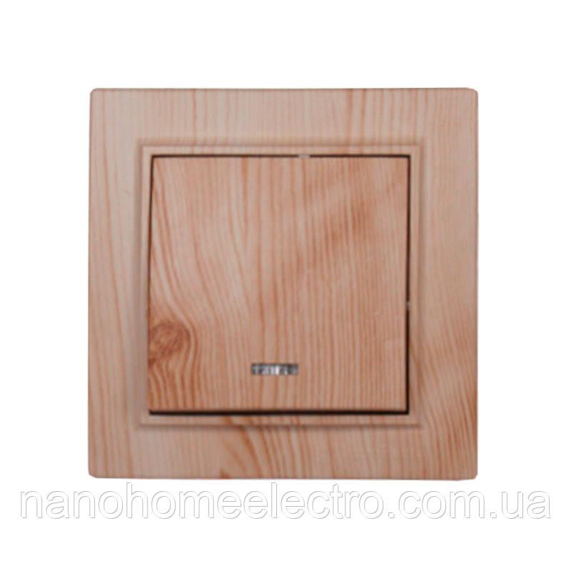 ElectroHouse Вимикач з підсвічуванням Світле дерево Enzo IP22