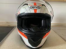 Бело-оранжевый интеграл шлем оригинал Европа закрытый Naxa(Польша) сертифицирован Ecer, фото 2