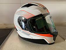 Бело-оранжевый интеграл шлем оригинал Европа закрытый Naxa(Польша) сертифицирован Ecer, фото 3