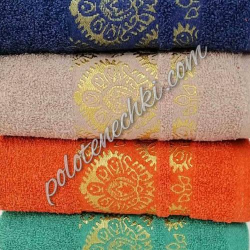 Махровое лицевое полотенце Золотой узор