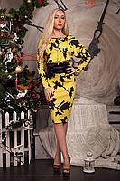 Платье с листочками и атласным поясом, фото 2
