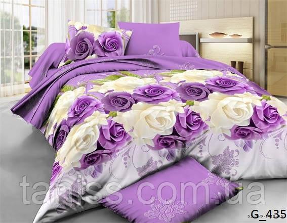 """Евро комплект постельного белья Бязь """"Gold"""", расцветка как на фото, Розы"""