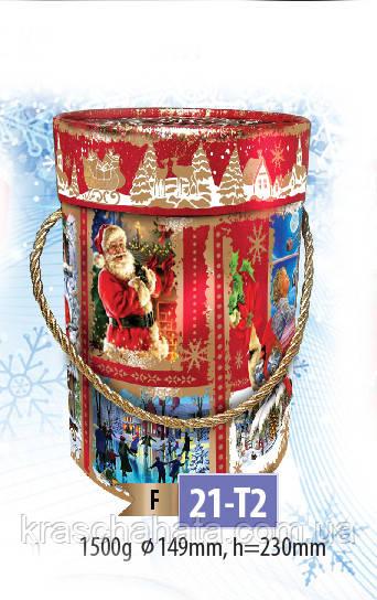 Новогодняя картонная упаковка, картонный тубус, 23х15 см, 1500 гр