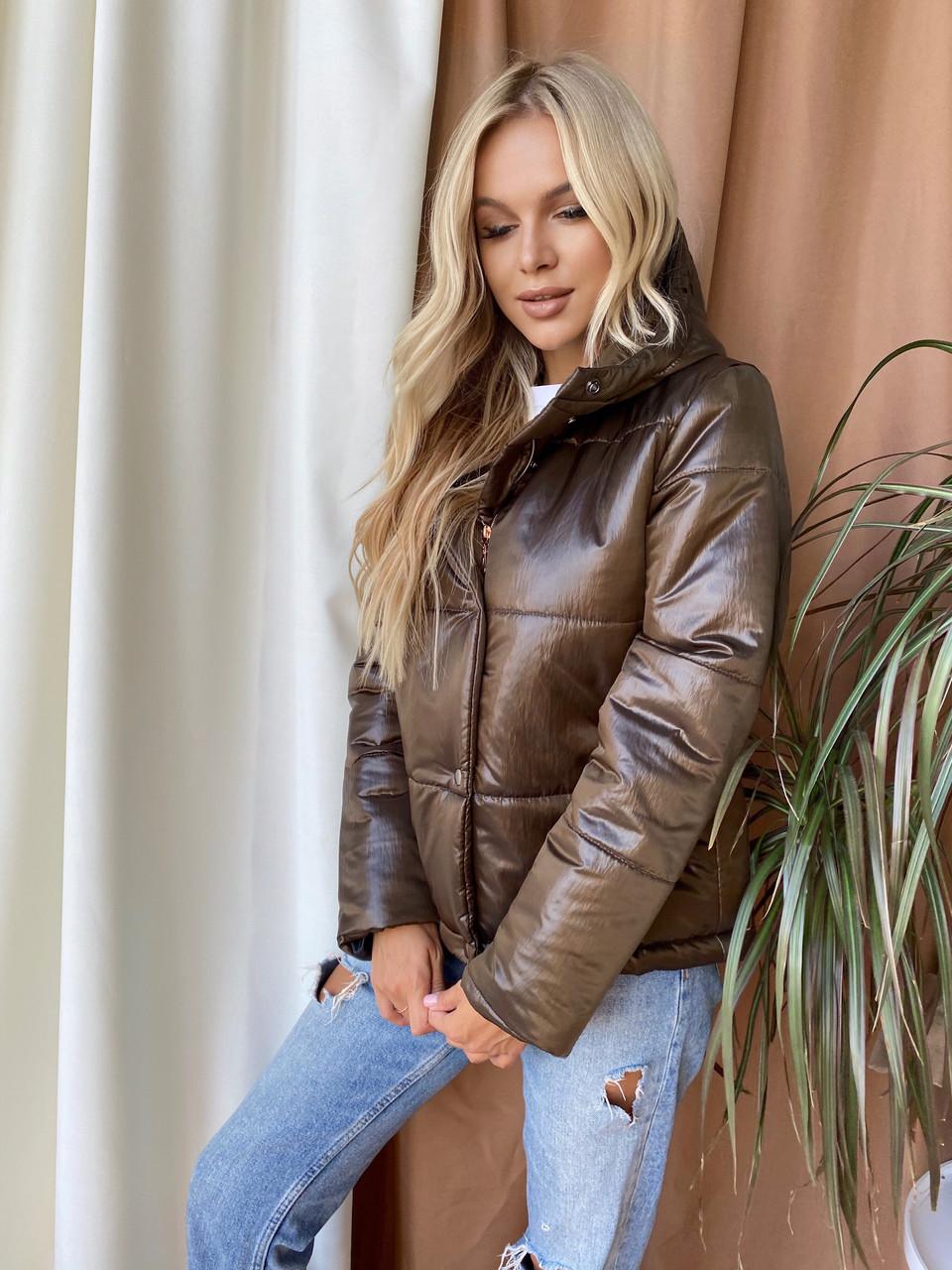 Женская  куртка  с капюшоном  демисезонная  (хаки)