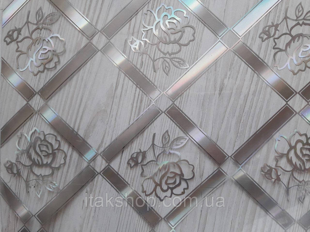 Мягкое стекло Скатерть с лазерным рисунком Soft Glass 2.8х0.8м толщина 1.5мм Серебристая роза в квадрате