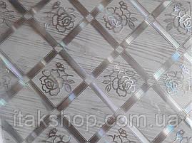 Мягкое стекло Скатерть с лазерным рисунком Soft Glass 2.8х0.8м толщина 1.5мм Серебристая роза в квадрате, фото 3