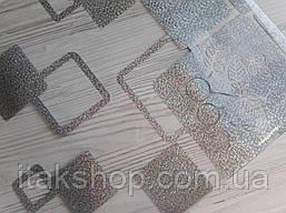 Мягкое стекло Скатерть с лазерным рисунком Soft Glass 1.4х0.8м толщина 1.5мм Серебристые квадраты, фото 2