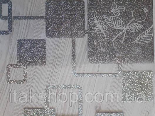 М'яке скло Скатертину з лазерним малюнком Soft Glass 2.4х0.8м товщина 1.5 мм Сріблясті квадрати, фото 2