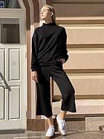 Штани-кюлоти жіночі міські спортивні вільні з високою посадкою і кишенями осінні чорні M-L, фото 1