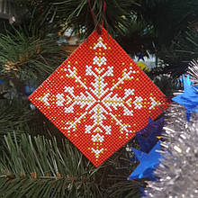 АМН-005. Алмазная мозаика Новогодняя игрушка двусторонняя. 10х10см