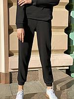 Штаны-джогеры  женские городские спортивные  с высокой посадкой и карманами  осенние черные S, фото 1