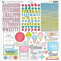 Лист с наклейками Glitz Design, Brightside Cardstock Stickers - Alphas & Accents, 30x30 см, 1 шт