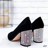 Женские туфли с острым носиком, каблук в стразах, фото 2