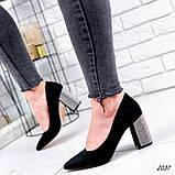 Женские туфли с острым носиком, каблук в стразах, фото 3