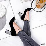 Женские туфли с острым носиком, каблук в стразах, фото 5