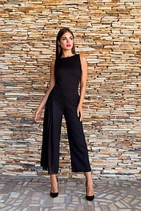Комбинезон женский брючный (кюлоты) вставка вуаль на штанине AniTi 502, черный