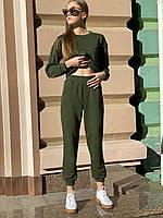 Штаны-джогеры  женские городские спортивные  с высокой посадкой и карманами  осенние хаки  S, фото 1