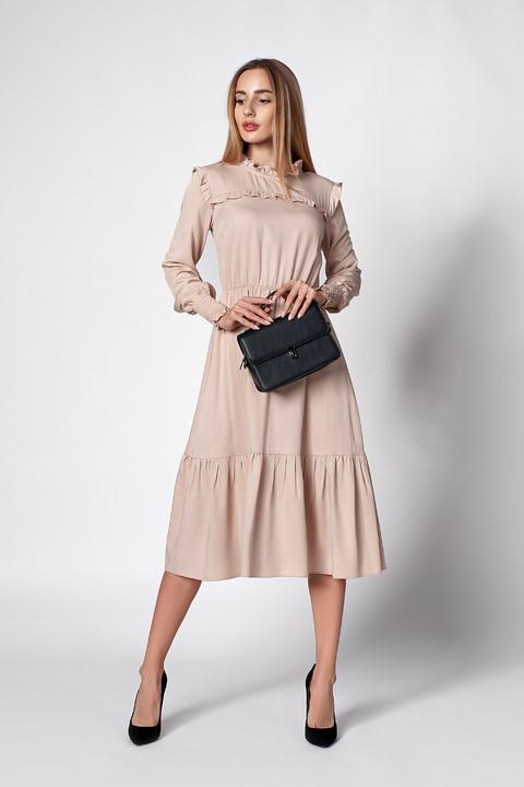 Платье миди бежевого цвета. Модель 1275. Размеры 48,50