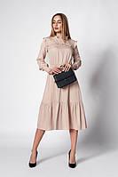 Платье миди бежевого цвета. Модель 1275. Размеры 48,50, фото 1