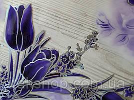 Мягкое стекло Скатерть с лазерным рисунком Soft Glass 1.4х0.8м толщина 1.5мм Фиолетовые тюльпаны, фото 2