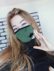 Маска многоразовая женская защитная тканевая Intruder Корона Хаки