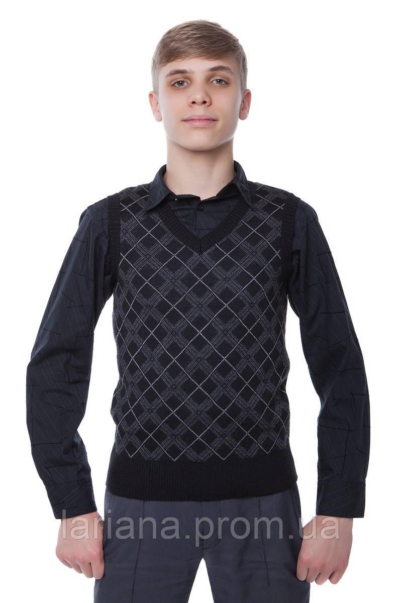 SEWEL Жилет школьный QW255 (38-40, черный, темно-серый, серебро, 50% шерсть/ 50% акрил)